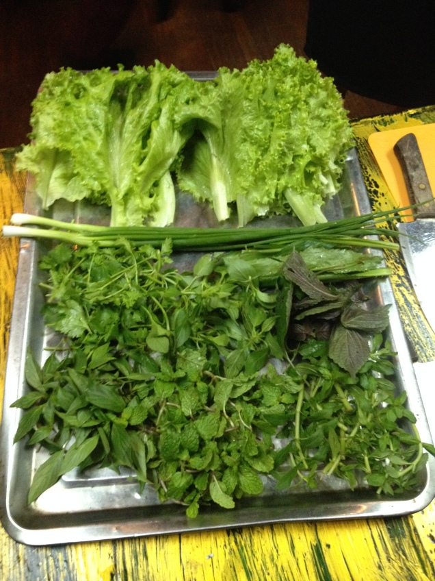 Fresh herbs for cooking Vietnamese food