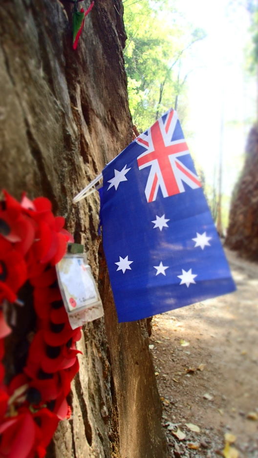New Zealand flag in memory of those that died, Hellfire Pass, Thailand